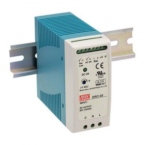 Accesoriu supraveghere Mean Well DRC-60B Sursa de alimentare cu back-up, 27.6V DC, 1.4A, 59.34W, sina DIN