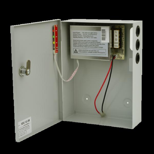Sursa de alimentare 12V, 5A, back-up in cabinet metalic SDC-12-5B