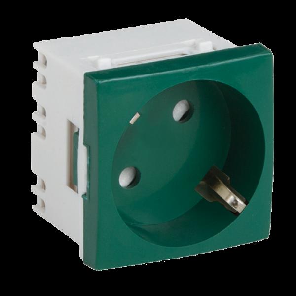Priza modulara schuko cu impamantare, verde - DLX DLX-245-42