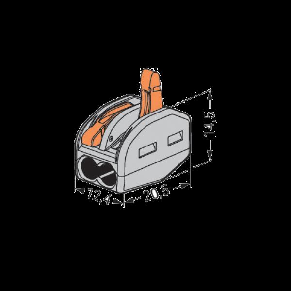 Conector derivatie tip WAGO 2 fire (10 buc.) W-412