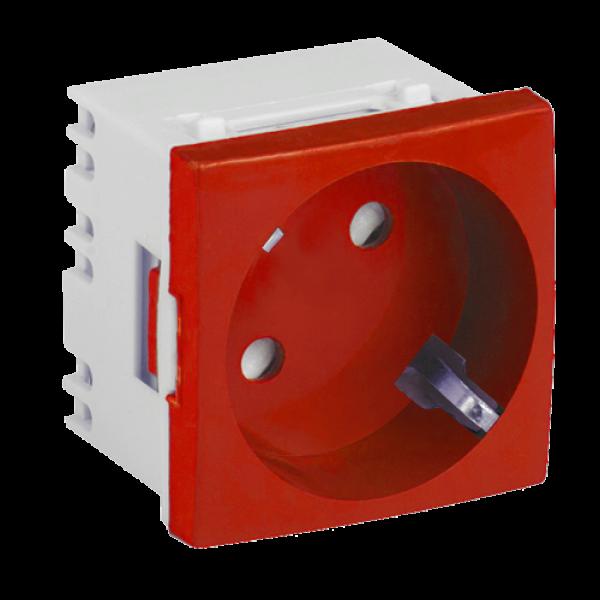 Priza modulara schuko cu impamantare, rosu - DLX DLX-245-46