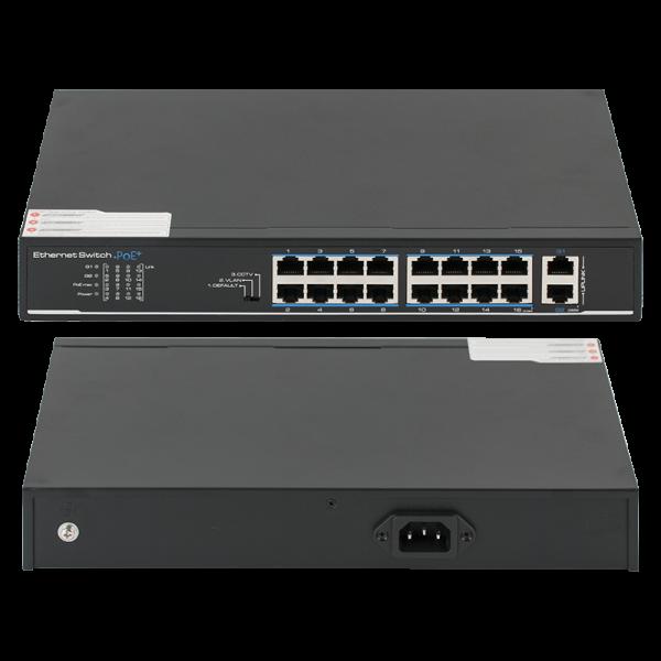 Switch 16 porturi PoE, 2 porturi uplink - UTEPO SF18P-LM
