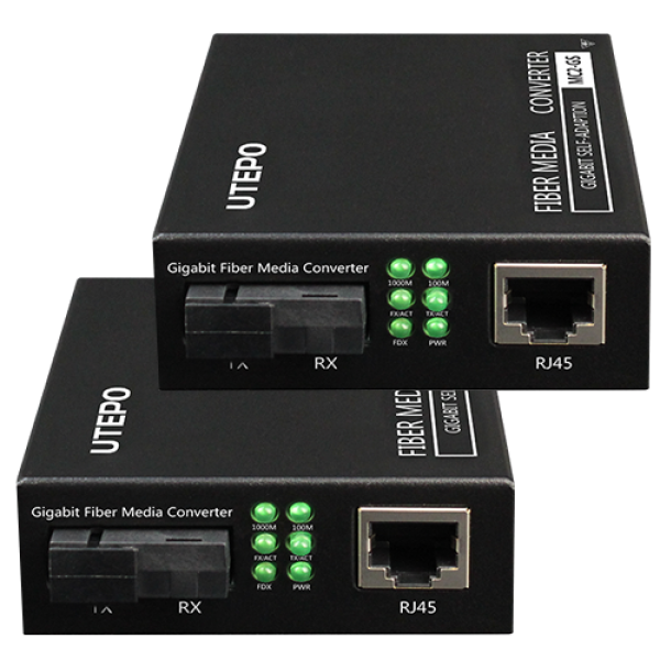 KIT RX/TX mediaconvertor Gigabit, SM fiber 25KM, conector SC - UTEPO MC2-GS
