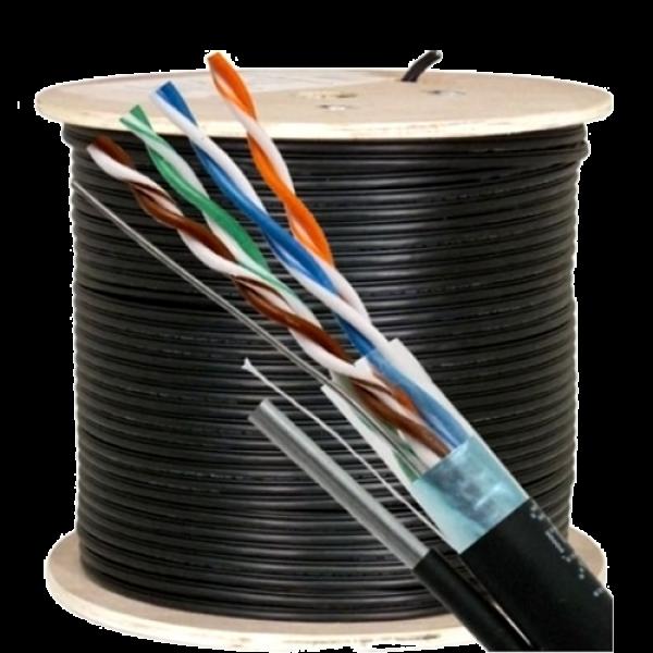 Cablu FTP autoportant, cat 5E, CUPRU 100%, 305m, negru TSY-FTP5E-MESS