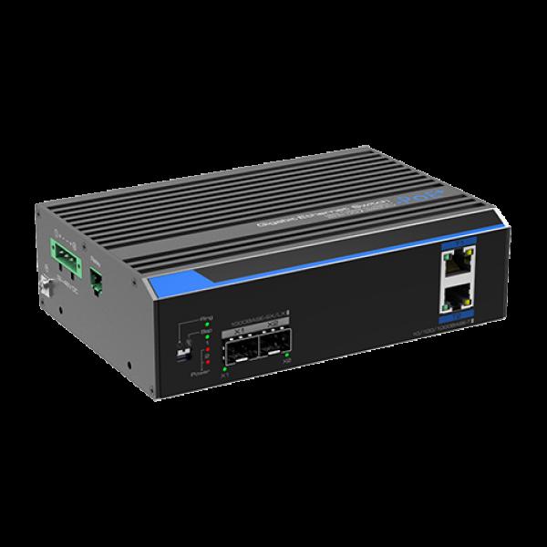 Switch industrial 2 porturi Gigabit HPoE, 2 porturi uplink SFP/RJ45 - UTEPO UTP7202GE-POE