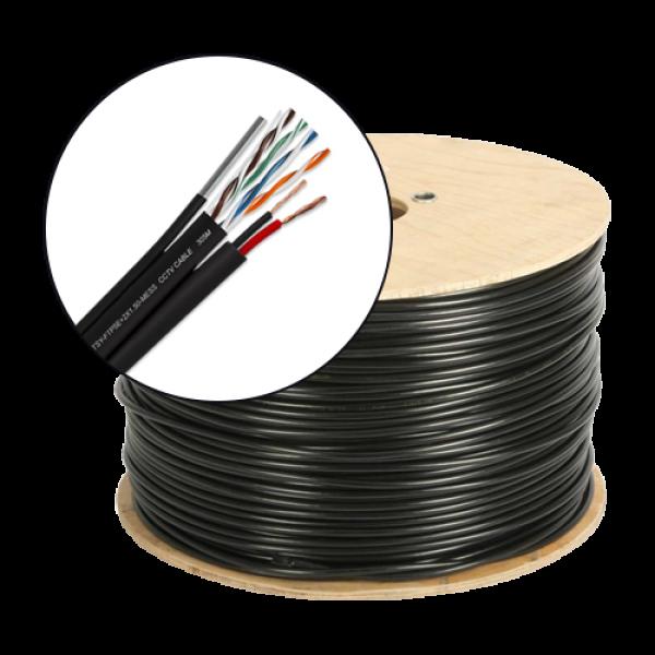 Cablu FTP autoportant cu alimentare 2x1.5, cat 5E, CUPRU 100%, 305m, negru TSY-FTP5E+2x1.50-MESS