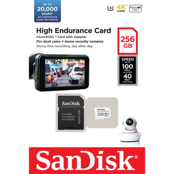 Card MicroSD 256GB, seria HIGH Endurance - SanDisk SDSQQNR-256G-GN6IA