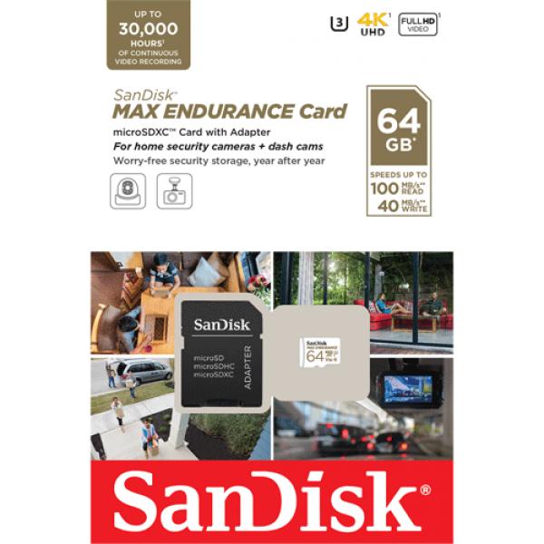 Card MicroSD 64GB, seria MAX Endurance - SanDisk SDSQQVR-064G-GN6IA