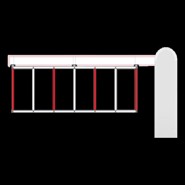 Gard bicolor din aluminiu vopsit, 2 metri, alb/rosu, Ditec
