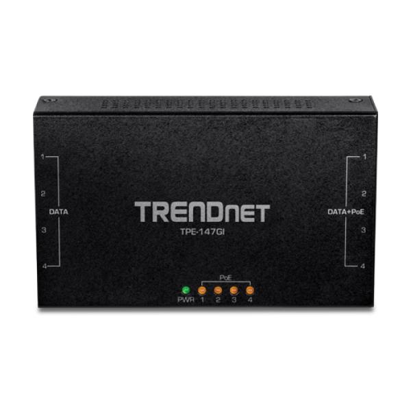 Injector Gigabit 4 x PoE+, putere 65W - TRENDnet TPE-147GI