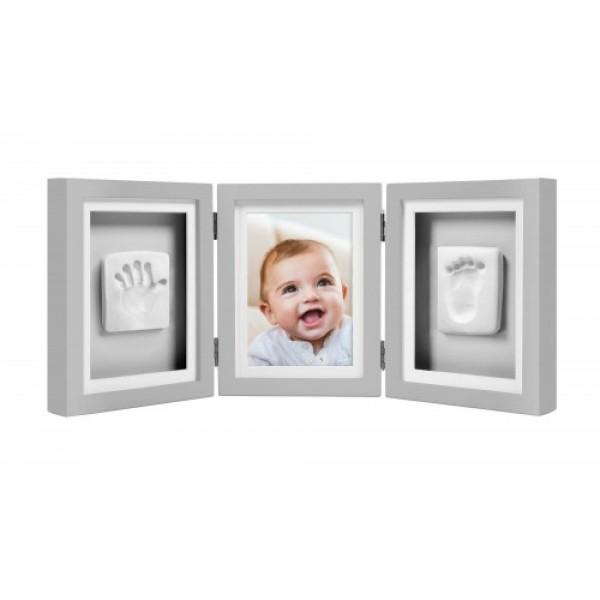 Pearhead - Kit rama foto tripla gri cu amprente manuta si piciorus