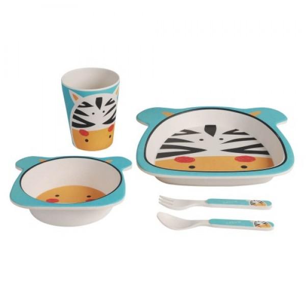 Adora - Set mic dejun din bambus - model Zebra