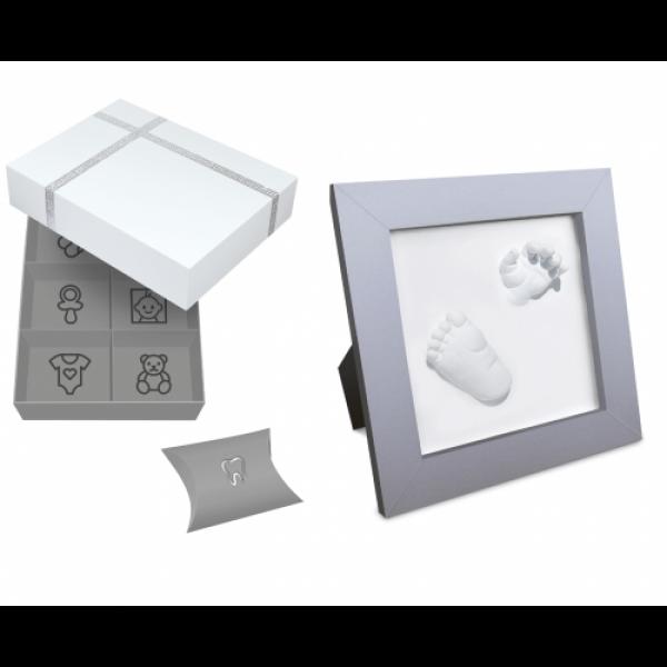Set cadou cutie amintiri si kit rama cu amprenta bebe 3D