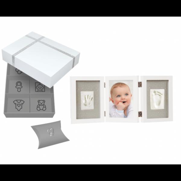Set cadou cutie amintiri si kit rama foto tripla cu amprente mulaj