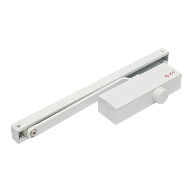 Amortizor hidraulic cu sina, pentru usi de 40-65kg, alb