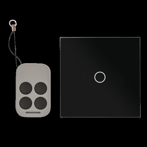 Intrerupator simplu cu actionare la atingere (touch) si telecomanda RF, negru