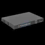 Switch profesional 16 porturi PoE+, 4 porturi uplink SFP, 1 port consola CLI, 1 port OOB Web management