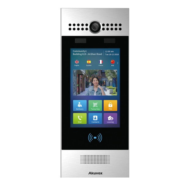 """Video interfon IP SIP- post de apel cu ecran touchscreen de 7"""" si recunoastere faciala"""