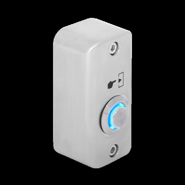 Buton de iesire aplicabil cu LED de semnalizare albastru, din  aliaj de Zinc cu posibilitate de montare la exterior, IP65