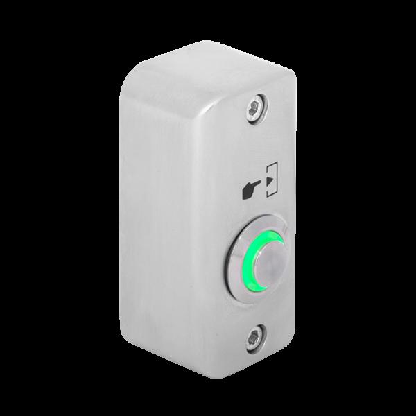 Buton de iesire aplicabil cu LED de semnalizare verde, din aliaj  de Zinc cu posibilitate de montare la exterior, IP65