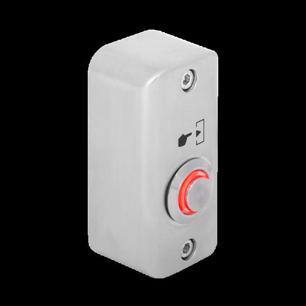 Buton de iesire aplicabil cu LED de semnalizare rosu, din aliaj  de Zinc cu posibilitate de montare la exterior, IP65