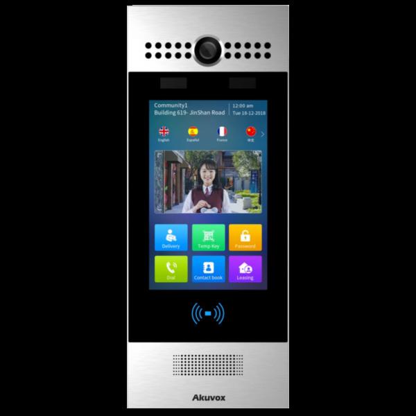"Video interfon IP SIP, post de apel cu ecran touchscreen de 7"", Android, WiFi, bluetooth, recunoastere faciala, NFC, cod QR, argintiu"