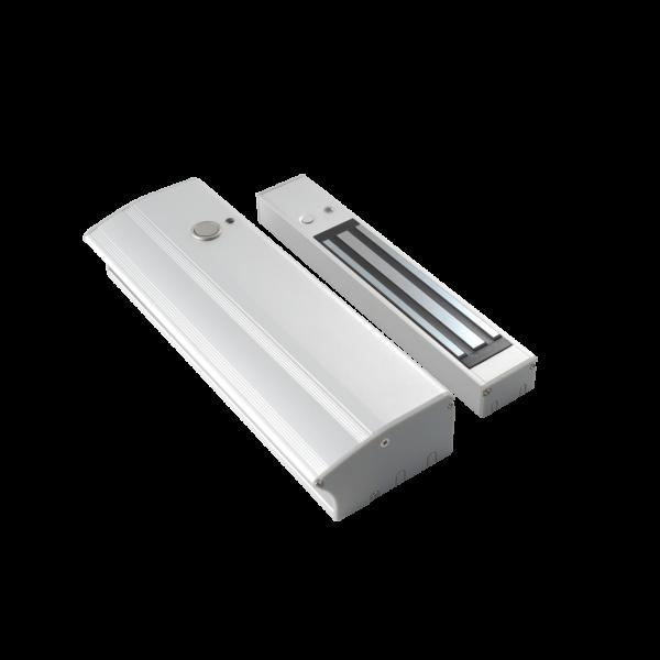Electromagnet aplicabil de 280kgf, cu maner pentru usi cu deschidere in interior si cu led de stare