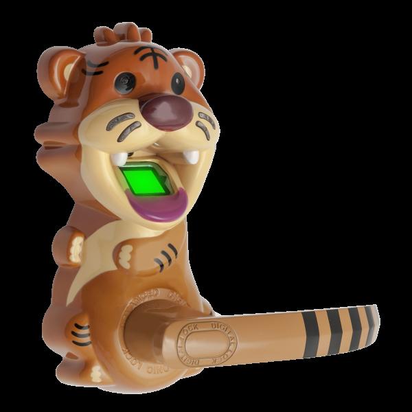 Incuietoare cu amprenta si cod, in forma de tigru