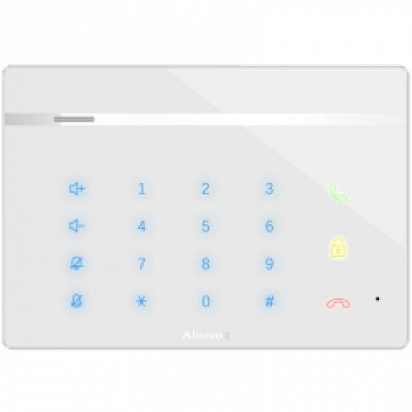 Audio interfon IP SIP cu tastatura numerica si icoane tactile iluminate, front de sticla