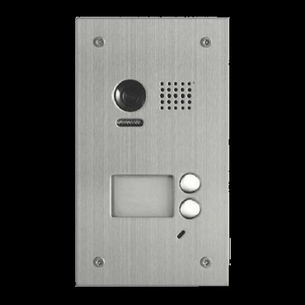 Panou video color de apel exterior, cu conexiune pe 2 fire, camera WIDE ANGLE 105°, pentru doi abonati