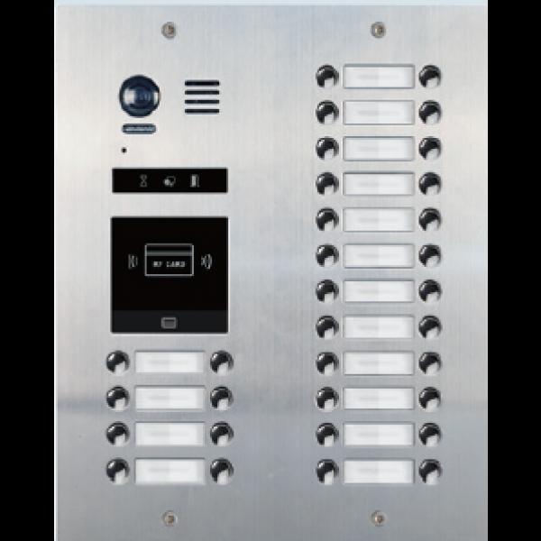 Panoul de apel video modular cu camera wide angle, 32 butoane de apel si un locas blank (pentru module R21)