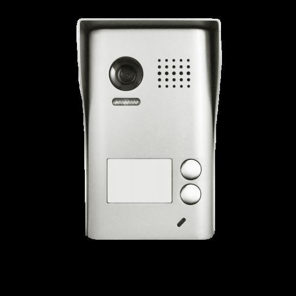 Panou video color de apel exterior, cu conexiune pe 2 fire, camera video CCD WIDE ANGLE 105° incorporata, pentru doi abonati.