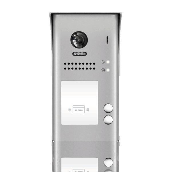 Panou video color de apel exterior, cu conexiune pe 2 fire, camera WIDE ANGLE 170°, pentru doi abonati, control acces RFID