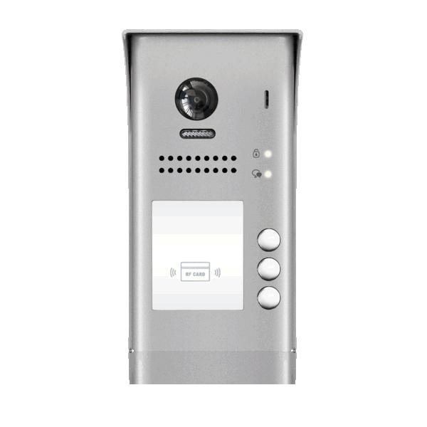 Panou video color de apel exterior, cu conexiune pe 2 fire, camera WIDE ANGLE 170°, pentru trei abonati, control acces RFID