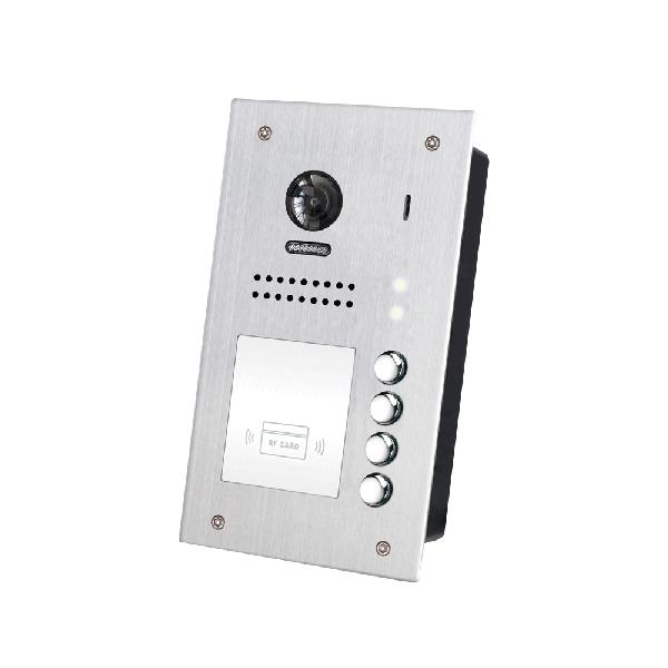 Panou video color de apel exterior, cu conexiune pe 2 fire, camera WIDE ANGLE 170°, pentru patru abonati, control acces RFID