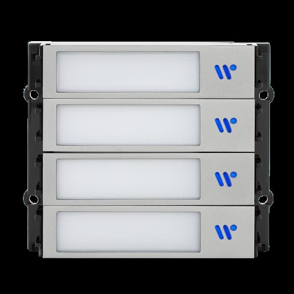 Modul cu 4 butoane iluminate, capacitive, pentru posturile de apel modulare DT 821 cu comunicatie pe 2 fire.