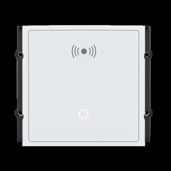 Modul cititor RFID EM 125KHz, MF 13.56MHz si afisaj LED matricial pentru posturile de apel modulare DT 821 cu comunicatie pe 2 fire.