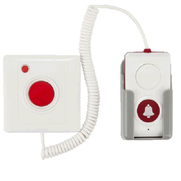 Apelator de perete, cu fir flexibil si activare prin buton la capatul firului