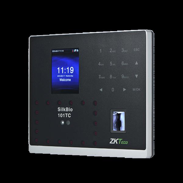Terminal de control acces si pontaj cu identificare faciala, senzor de amprente, cititor de carduri si PIN