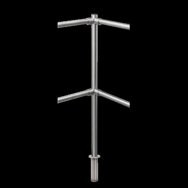 Stalp intermediar de colt 90° din INOX, suport pentru balustrade din INOX, montare ingropata