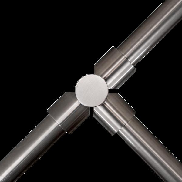 "Stalp intermediar in forma de ""T"" din INOX, suport pentru balustrade din INOX, montare ingropata"