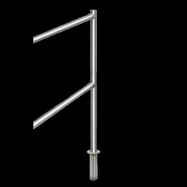 Stalp de capat din INOX,  suport pentru balustrade din INOX, montare ingropata
