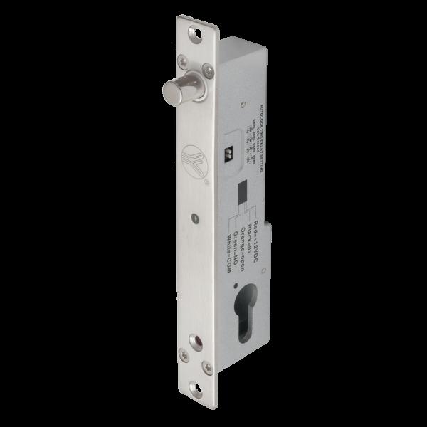 Bolt electric (fail-secure) cu temporizare, senzor magnetic, monitorizare, cilindru cu cheie si led de stare frontal