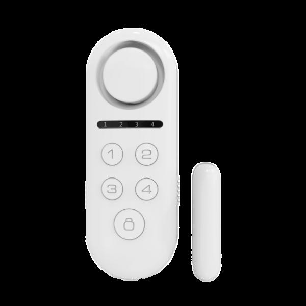 Contact magnetic standalone wireless, dublu, cu 4 zone, sirena incorporata, telecomanda si cod PIN