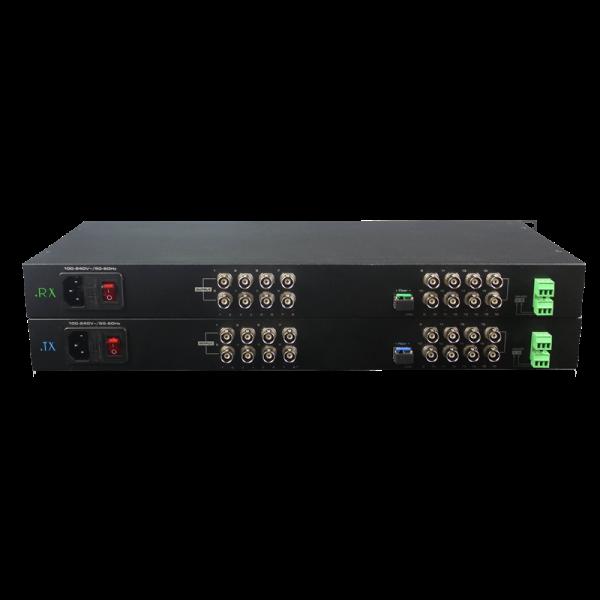 Convertor video CVBS si date la fibra optica - 16 canale video si unul de date