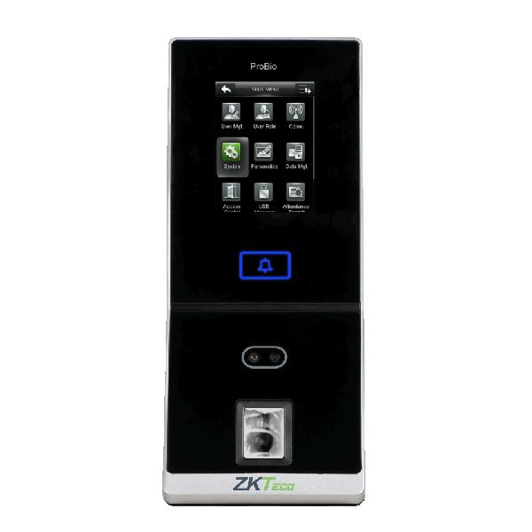 Controler de acces cu functie de pontaj, cu recunoastere faciala, amprente, cititor de proximitate si cod PIN
