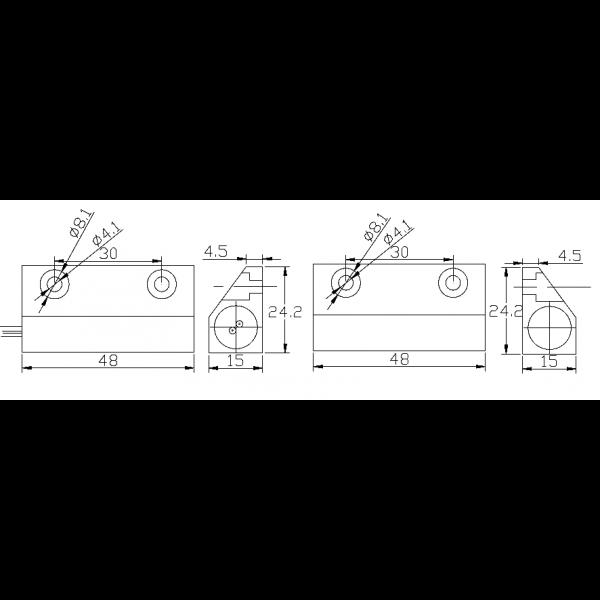 Contact magnetic aplicabil NC pentru usi de metal