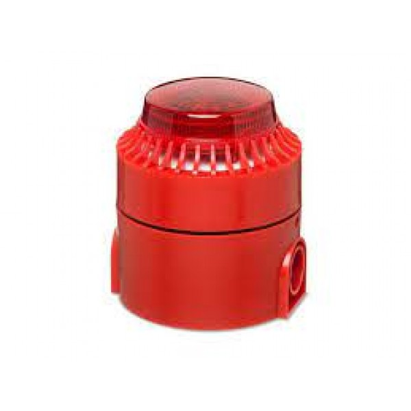 Sirenă de interior cu stroboscop , carcasă roşie, 24V, multitonala