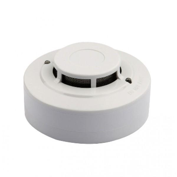 Detector analog-adresabil de fum cu camera optica, soclu inclus, LED-uri de monitorizare stare locala
