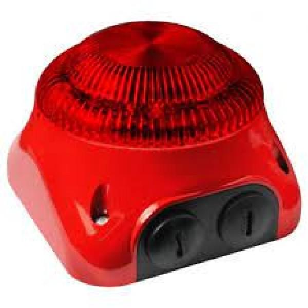 FLASH adresabil de EXTERIOR, culoare rosie, contine soclu, montare aparenta,consum redus, maxim 32 flash-uri / bucla